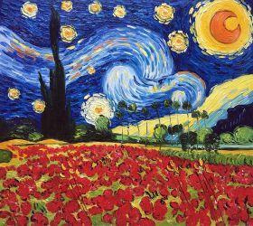 Starry Poppies Collage (artist interpretation) - 24