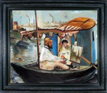 Claude Monet Working on his Boat in Argenteuil Pre-Framed - 24