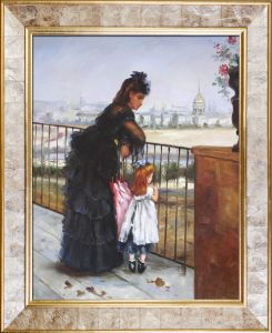 Woman and Child on a Balcony Pre-Framed
