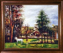 Landscape with a White Horse in a Meadow Pre-Framed
