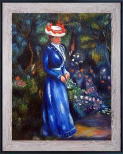 Woman in a Blue Dress, Standing in the Garden of Saint Cloud Pre-Framed