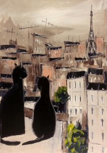 Black cat and his pretty on Paris roofs - 30