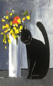 Black cat and his flowers - 24