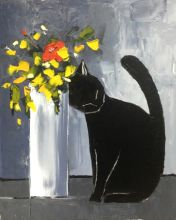Black cat and his flowers - 8