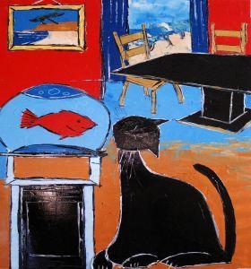 Black cat with goldfish
