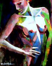 Woman on dark