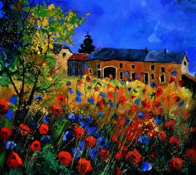 Red poppies and cornflowers in Houroy