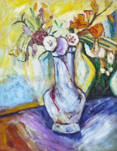 Flowers in a White Vase