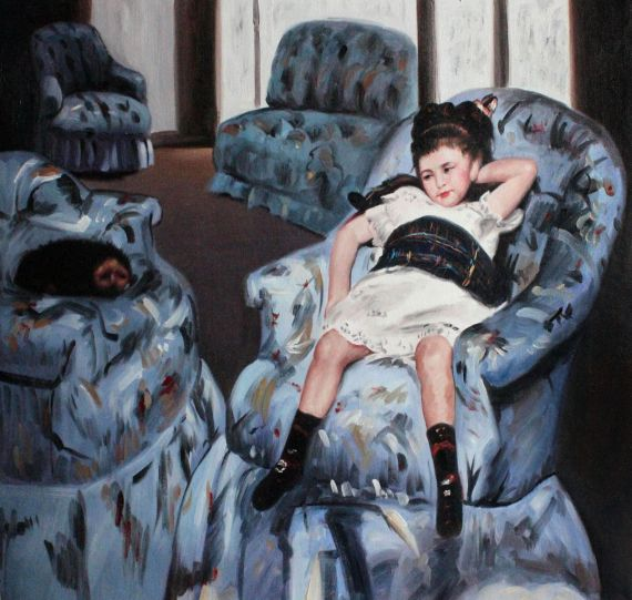 Little Girl In Blue Armchair Painting Price