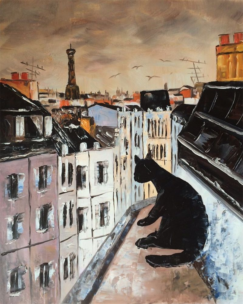 Black Cat on Roofs of Paris