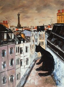 Black Cat on Roofs of Paris Reproduction