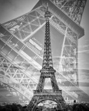 Eiffel Tower Double Exposure II Monochrome