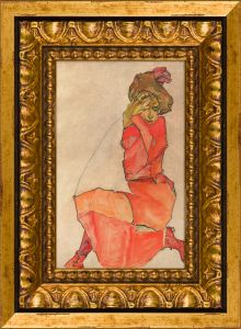 Kneeling Female in Orange-Red Dress Pre-Framed Miniature