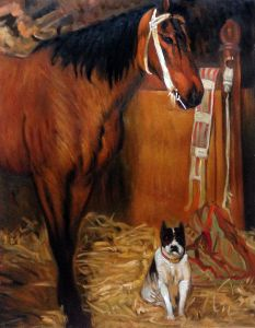 At The Stables, Horse and Dog, 1861