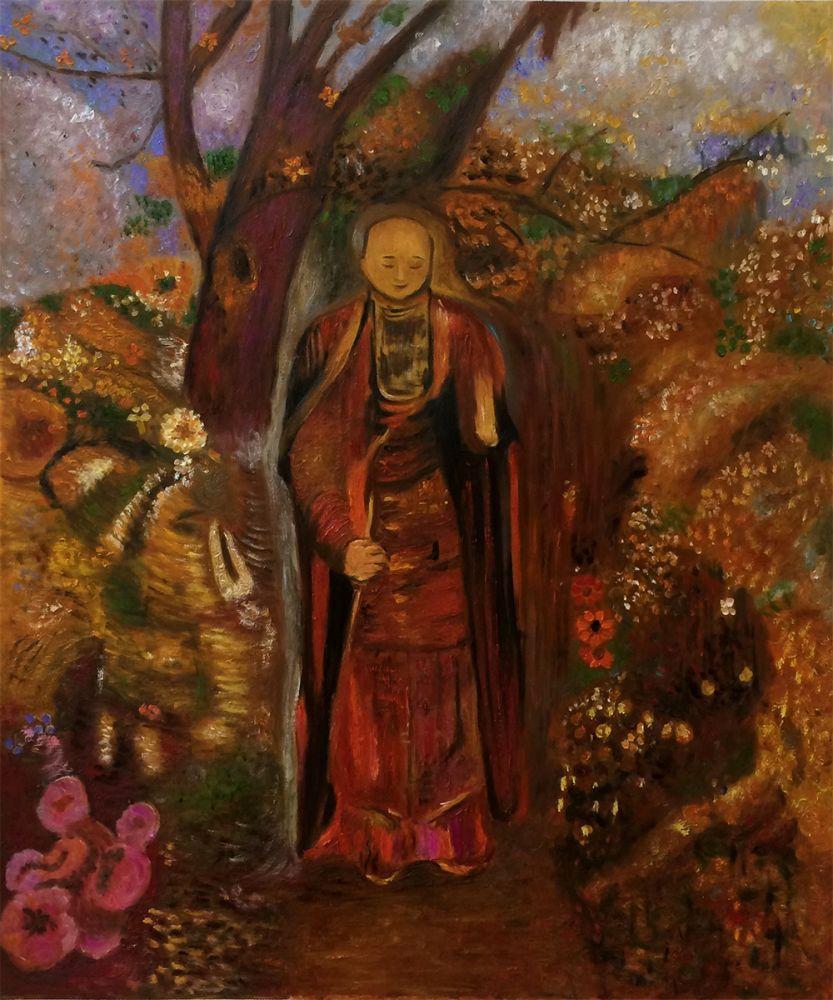 Buddha Walking Among The Flowers, 1905