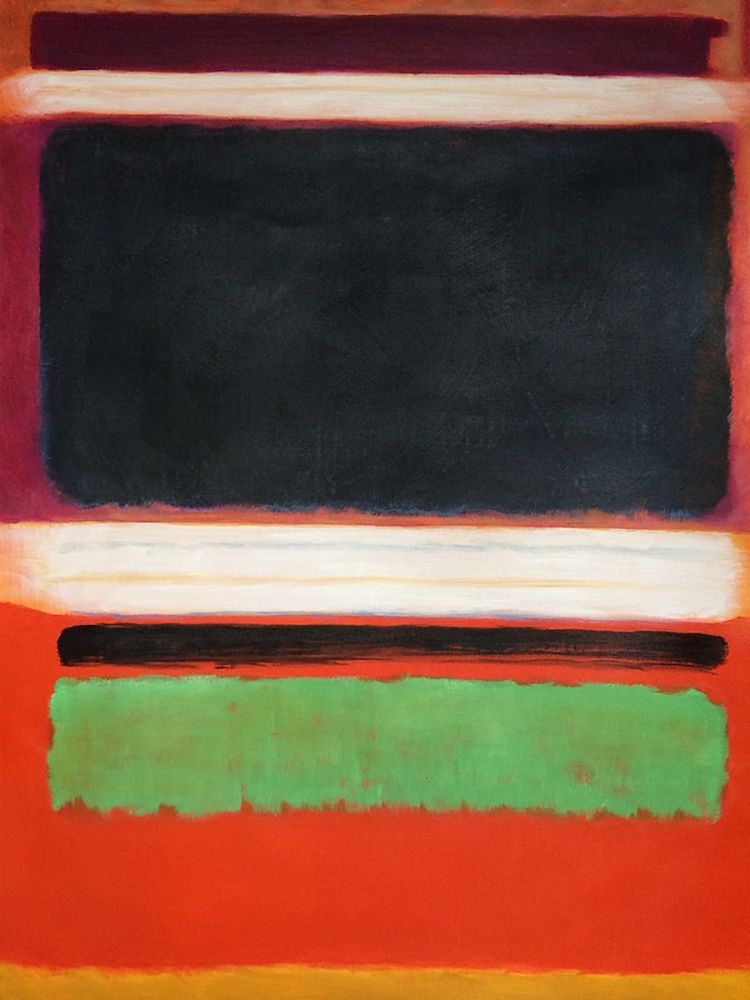 No. 3, No. 13 Magenta, Black, Green on Orange, 1949