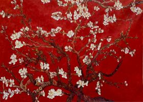 Branches Of An Almond Tree In Blossom (Artist Interpretation in Red) - 36