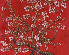 Branches Of An Almond Tree In Blossom (Artist Interpretation in Red) - 10