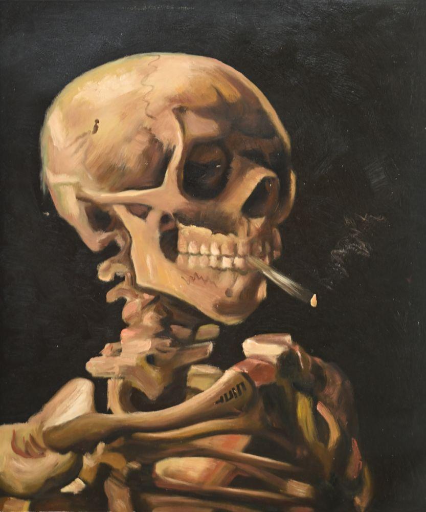 Skull of a Skeleton with Burning Cigarette
