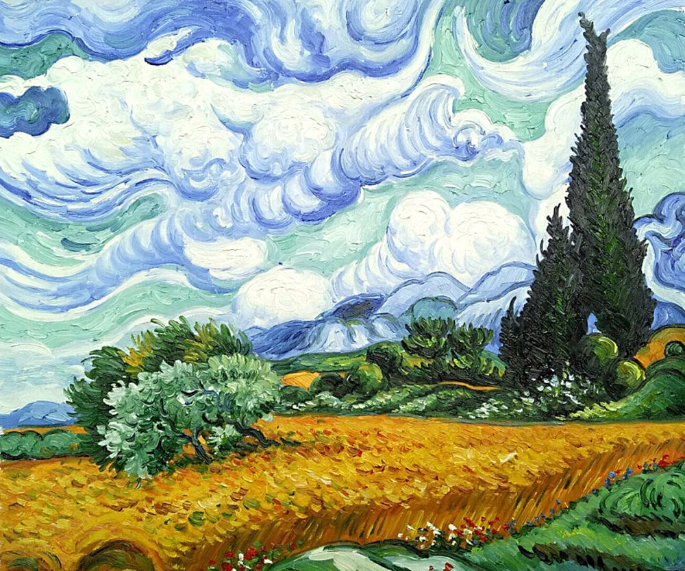 wheat field with cypresses by van gogh painting on canvas. Black Bedroom Furniture Sets. Home Design Ideas