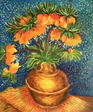 Crown Imperial Fritillaries in a Copper Vase