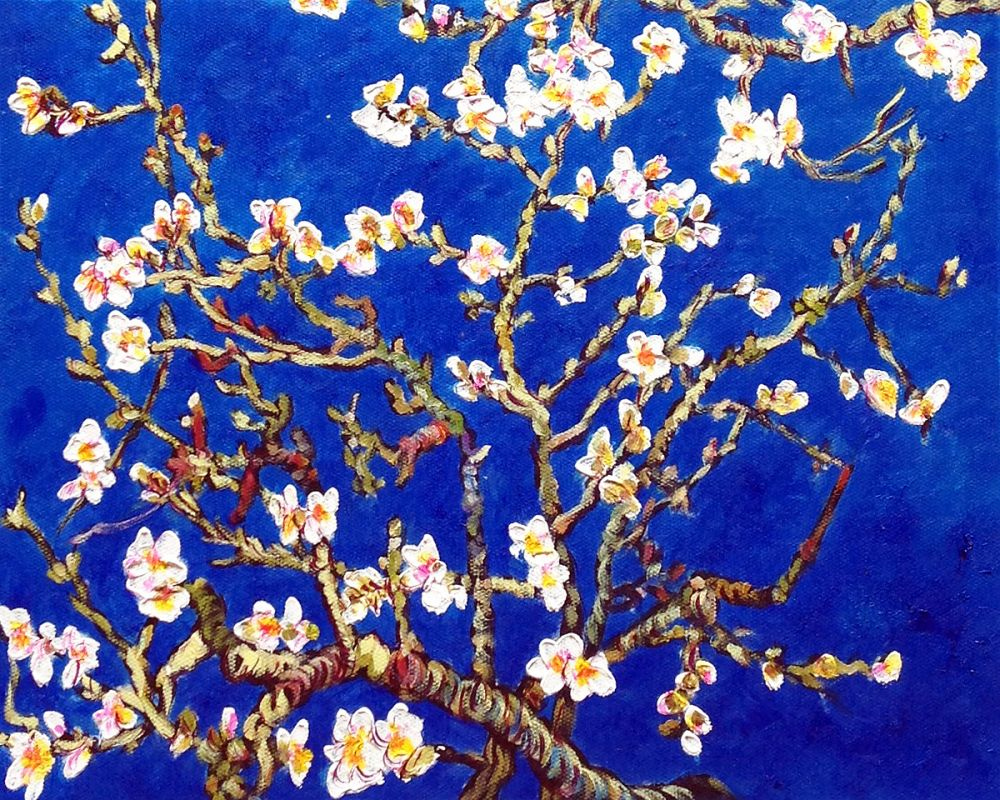 Branches of an Almond Tree in Blossom, Sapphire Blue