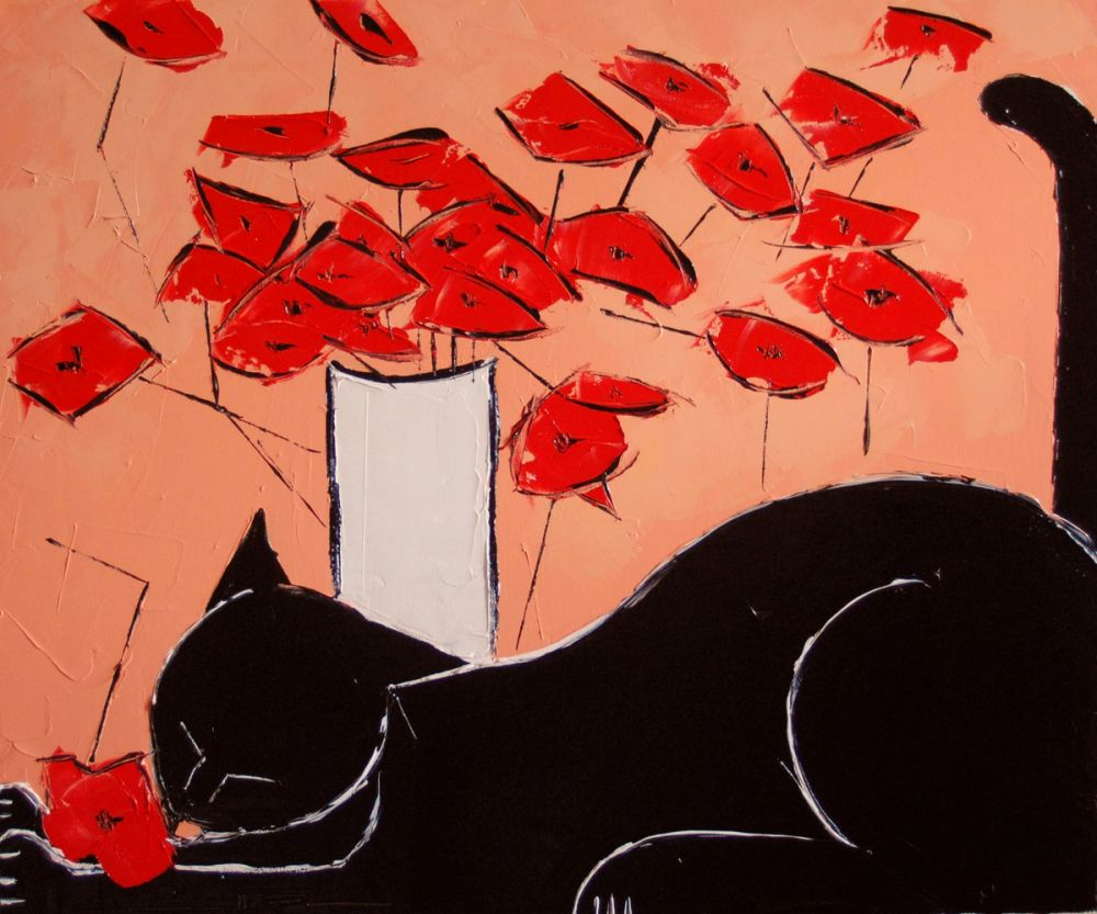 Black cat with poppies