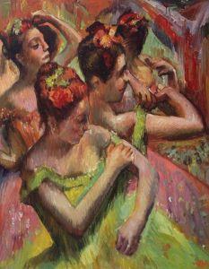 Ballerinas Adjusting Their Dresses