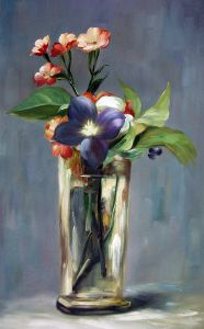 Carnations and Clematis in a Crystal Vase - 24