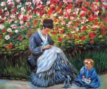 Camille Monet and a Child in the Artist's Garden in Argenteuil - 24