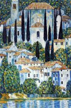 Church in Cassone (Landscape with Cypress) Oil Painting - 24