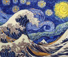 Starry Night Wave Collage (Artist Interpretation - Luxury Line) - 24