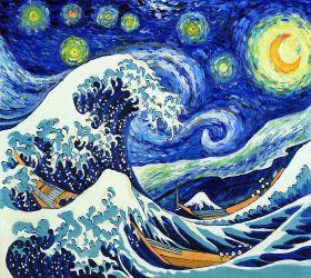 Starry Night Wave Collage (Artist Interpretation) - 24