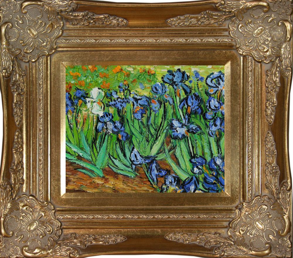 Vincent van gogh irises pre framed pre framed oil for Framed reproduction oil paintings