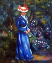 Woman in a Blue Dress, Standing in the Garden of St. Cloud - 20