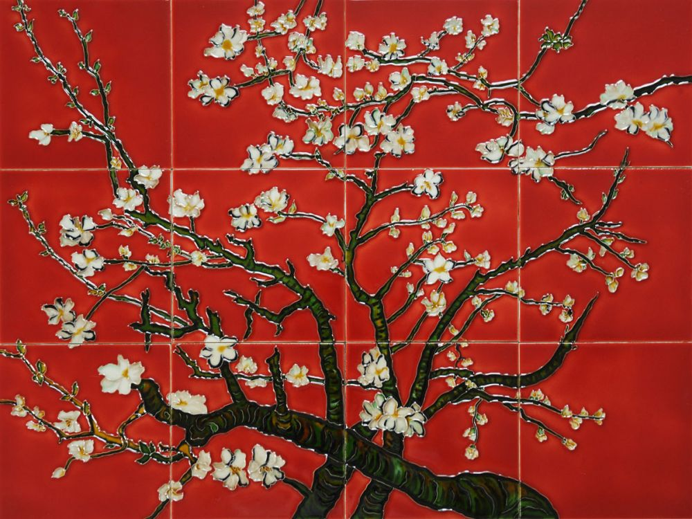 Branches of an Almond Tree (Red) Mural Wall Tiles