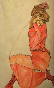 Kneeling Female in Orange-Red Dress, 1910 - 24