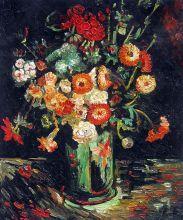 Vase with Zinnias and Geraniums - 20