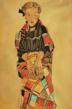 Girl in Black Pinafore, Wrapped in Plaid Blanket, 1910