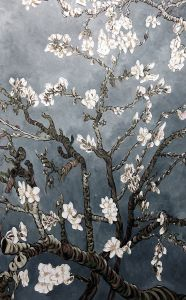 Branches of an Almond Tree in Blossom, Pearl Grey