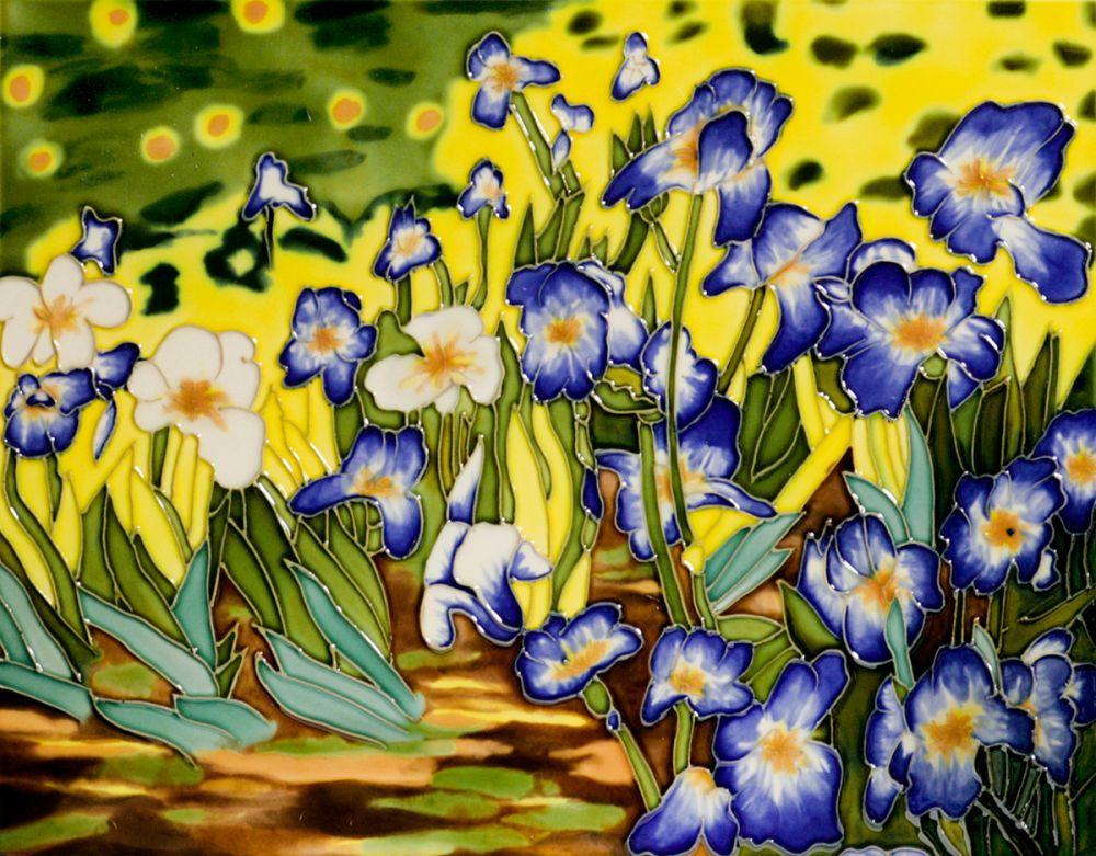 Irises Trivet/Wall Accent Tile (felt back)