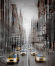 City Art, NYC 5th Avenue Yellow Cabs