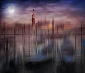 City Art, Venice Gondolas at Sunset