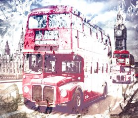 City Art, London Red Buses on Westminster Bridge