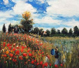 Poppy Field in Argenteuil Oil Painting - 10