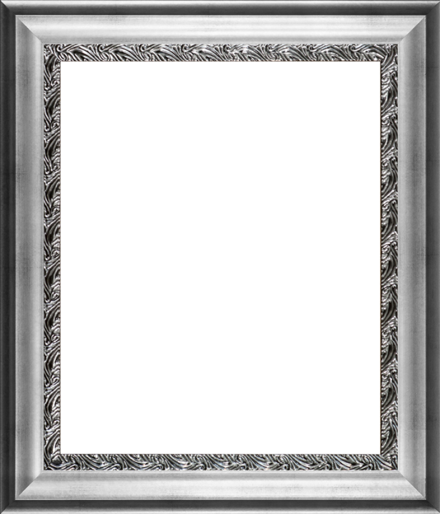 Antique Finish Silver Signing Frame: Athenian Silver Wave Custom Stacked Frame
