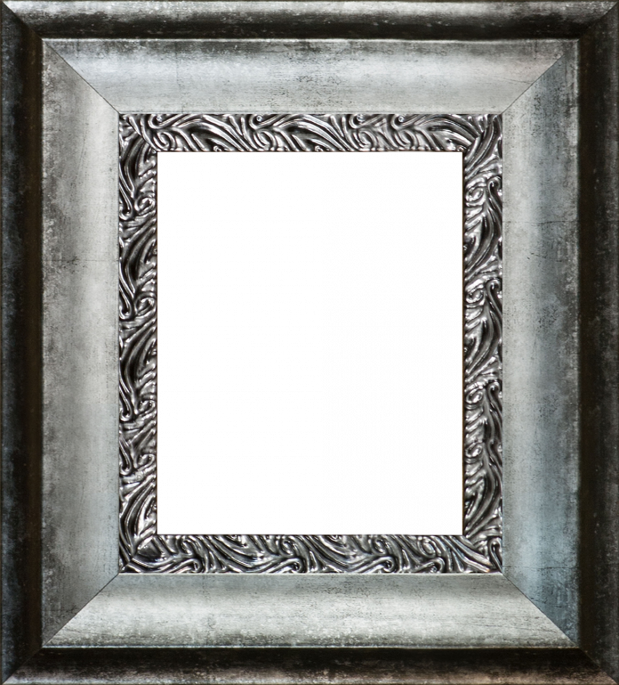 Distressed Ornate Silver Custom Stacked Frame 8