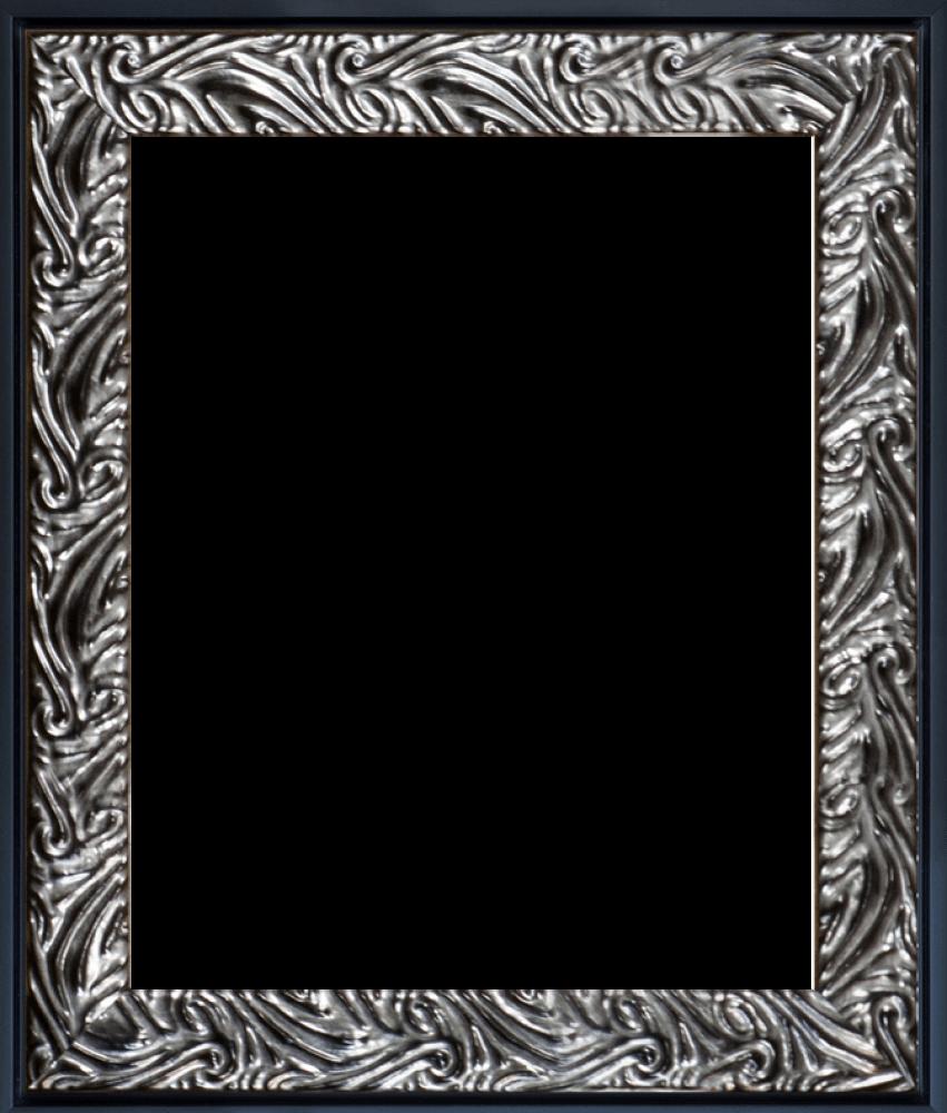 Ornate Silver and Black Custom Stacked Frame 8