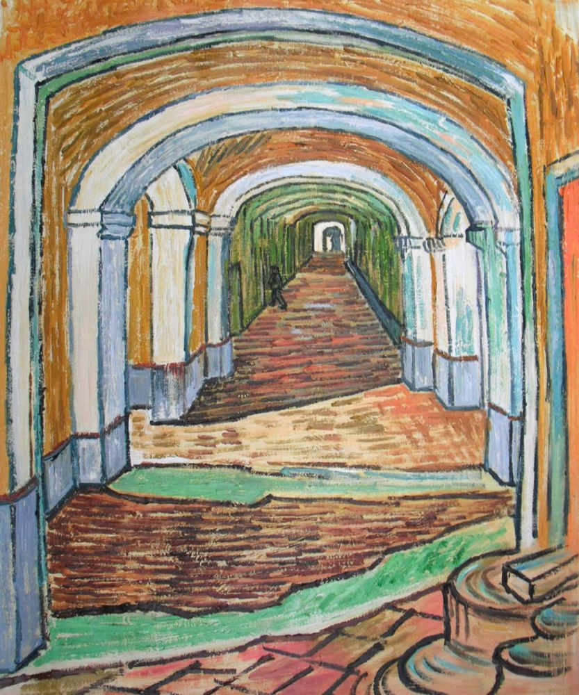 Corridor of Saint-Paul Asylum in Saint-Remy