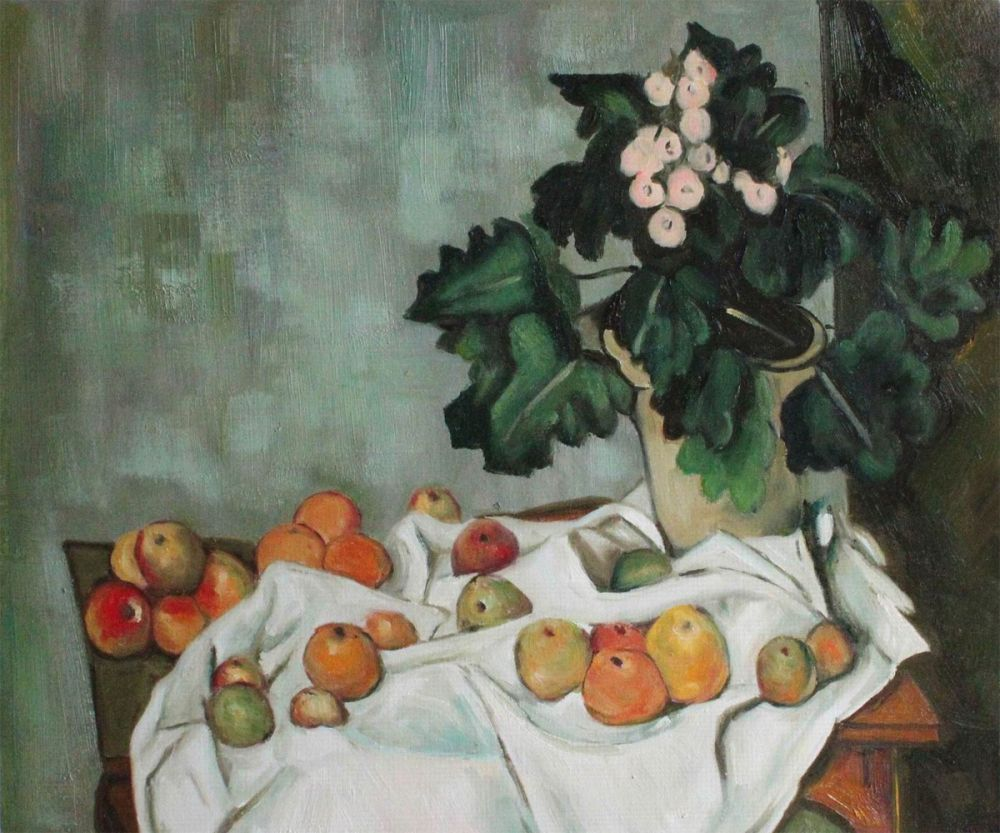 Still Life with Apples and a Pot of Primroses